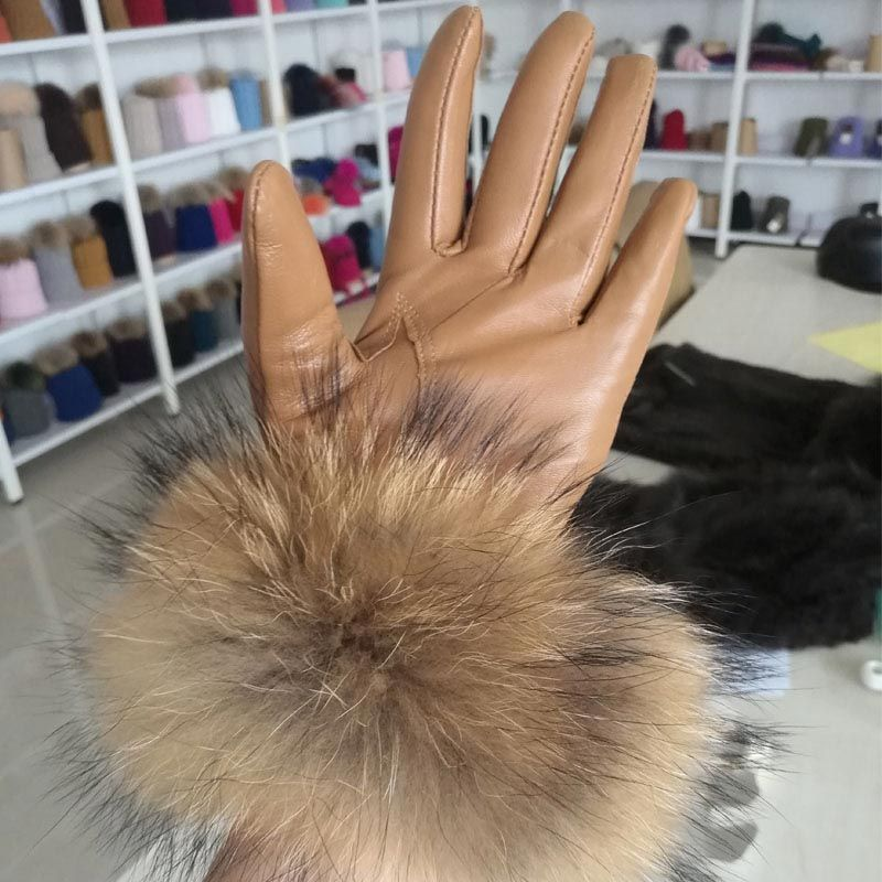 Black leather gloves with fur - Black Or Tan Leather Gloves With Raccoon Fur Trim